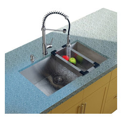 Vigo Industries - Platinum Undermount Kitchen Sink with Colander and Grid - Includes stainless steel kitchen sink, stainless steel kitchen faucet, matching colander, matching grid, strainer and stainless steel soap dispenser and all mounting hardware
