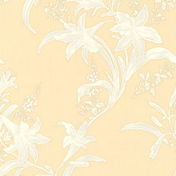 Yellow and White Floral Wallpaper - Give your walls a traditional look with a modern flare with wallpaper from the Regent Collection by Brewster.