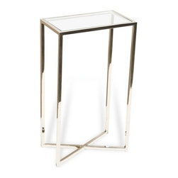 Interlude - Interlude Zander Rectangular Drink Table - The Zander Drink Table is a contemporary drink table in stainless with a glass top.