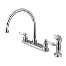 Kingston Brass - Double Handle Goose Neck Kitchen Faucet with Sprayer - This double handle kitchen faucet personifies the elegance of the early traditional American design. The faucet features an 8in. centerset platform with a high goose neck spout that rotates 360 degrees for accessibility and convenience. The body of the faucet is constructed in solid brass for durability and long-lasting usage with the finish made from polished chrome for corrosion and tarnishing resistance. The handle levers feature a 1/4-turn on/off mechanism for controlling water volume and temperature. The faucet operates with a washerless disc valve for drip-free functionality and has a 2.2 GPM (8.3 LPM) and a 60 PSI maximum rate. An integrated removable aerator is fitted beneath the spout's head piece for conserving water flow. A 10-year limited warranty is provided to the original customer. Non-metallic sprayer included.