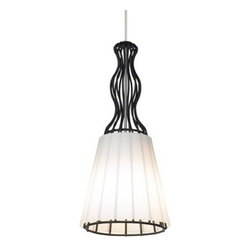 LBL Lighting - LBL Lighting | Mini Someday Low Voltage Pendant Light - Design by LBL Lighting.The Someday Low-Voltage Pendant Light from LBL Lighting features a hand-blown conical glass shade, resting on a structual metal case inspired by a taylor's dress form. Offered in black or satin nickel finish, this sophisticated pendant includes six feet of field-cuttable cord.  Provides ambient, decorative illumination with xenon lamping or energy-efficient LED technology. LED option not compatible with 24 volt transformers. Select from 2-circuit monorail, fusion jack, monopoint, or monorail mounting options.Shown in black finish.