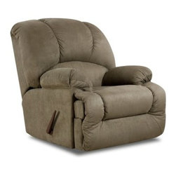 Chelsea Home Furniture Virginia Recliner - It's time to curl up in comfort with the Chelsea Home Furniture Virginia Recliner. Designed to surround you with sink-in-your-seat pillowed softness, while supporting you with a solid hardwood frame and durable sinuous springs, this traditional two-position recliner features rounded arms and high-density foam padding throughout. Available in versatile olive, this chaise will suit a variety of decor and is upholstered in easy-care polyester fabric.About Chelsea Home FurnitureProviding home elegance in upholstery products such as recliners, stationary upholstery, leather, and accent furniture including chairs, chaises, and benches is the most important part of Chelsea Home Furniture's operations. Bringing high quality, classic and traditional designs that remain fresh for generations to customers' homes is no burden, but a love for hospitality and home beauty. The majority of Chelsea Home Furniture's products are made in the USA, while all are sought after throughout the industry and will remain a staple in home furnishings.