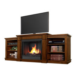 "Real Flame - Hawthorne Gel Fireplace in Burnished Oak - Includes: Mantel, firebox, hand painted cast concrete log, and screen kit. Shelf dimensions:18.25""W X 15.25""D. Fits up to a 50""(diagonal) TV, 100 lb. weight limit. Uses clean burning Real Flame Gel fuel emitting up to 9,000 BTUs of heat per hour lasting up to 3 hours. Solid wood and veneered MDF construction. Uses Only Real Flame 13oz Gel Fuel Cans, not included. Assembly Required. 74.72 in. W x 18.82 in. D x 29.88 in. H (138 lbs.)The Hawthorne Gel Fireplace features mission inspired details, arched side panels, a multi level top surface and room for media and A/V component storage; doubling it's use as an entertainment unit. Supports most TV's weighing 100 lbs. or less. The hand-painted log set and bright crackling flame add to the realistic look of this Real Flame Gel Fuel Fireplace. Uses 3-13oz cans of Real Flame Gel Fuel."