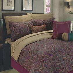 Textile Décor - Purple & Beige Paisley 11-Piece Comforter Set - Lounge in luxurious style with this beautiful comforter set featuring eye-catching hues and extra-soft construction, ensuring you wake rested and refreshed every morning.   Includes comforter, two shams, bed skirt, breakfast pillow, neck pillow, square pillow, flat sheet, fitted sheet, and two pillowcases Cotton Machine wash; tumble dry Imported