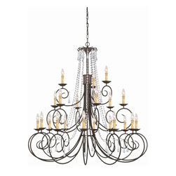 Crystorama - Soho 21-Light Chandelier - The charming Soho Collection offers chandeliers with just enough crystal flair to work with any environment. The delicate dressings of our crystal accents coordinate well with the soft curves of this simple chandelier.