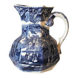 Mason's Iron Stone Pitcher - This unique pitcher will be a wonderful addition to your Blue and White collection.
