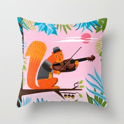 Red Squirrel Serenade Throw Pillow Cushion Cover - These illustrated pillows are adorable for both kids and adults alike.