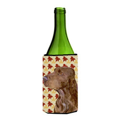 Caroline's Treasures - Field Spaniel Fall Leaves Portrait Wine Bottle Koozie Hugger - Field Spaniel Fall Leaves Portrait Wine Bottle Koozie Hugger Fits 750 ml. wine or other beverage bottles. Fits 24 oz. cans or pint bottles. Great collapsible koozie for large cans of beer, Energy Drinks or large Iced Tea beverages. Great to keep track of your beverage and add a bit of flair to a gathering. Wash the hugger in your washing machine. Design will not come off.