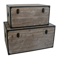 INDUSTRIAL RECTANGLE TRUNKS - Distressed wood paired with black metal accents is a match made in design heaven. These industrial style trunks are just the mode of storage for your spacious loft. Whether you use them for clothing or keepsakes, you will always be glad you added them to your home.