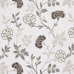 Schumacher - Sheridan Linen Embroidery Fabric, Grisalle - 2 YARD MINIMUM ORDER