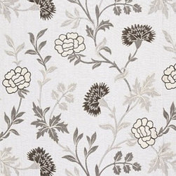 Schumacher - Sheridan Linen Embroidery Fabric, Grisalle - 2 Yard Minimum Order