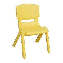 "Ecr4kids - Ecr4Kids Kids Plaroom Classroom 16"" Resin Chair Yellow, 6 Pack - Colorful resin chairs that will hold as much seated weight as hardwood chairs. Comfortable, one-piece, uni-body design chairs contour the child to promote healthy posture. Every chair features a fade-resistant, thermoplastic construction of solid 100% Polypropylene that will not crack, chip or peel, as well as a vented back and smooth, rounded edges for safety. Available in 5 soft tone colors and 5 seat heights."