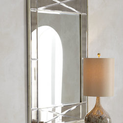 Bevel Frame Mirror - Beveled mirror framed by additional beveled mirrors is set within a wood framed finished in antiqued silver.