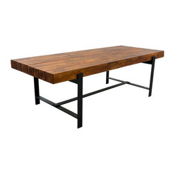 Sierra Living Concepts - Industrial & Wood Modern Rustic Iron Base Factory Dining Table - Premium Quality, Heavy Weight Dining Table