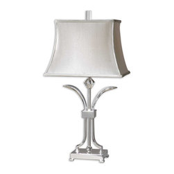 Crystal Nickel Table Lamp - *Polished nickel plated metal with crystal details.
