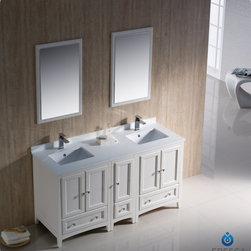 "Fresca - Fresca Oxford 60"" Traditional Double Sink Vanity Set w/ Side Cabinet - Blending clean lines with classic wood, the Fresca Oxford Traditional Bathroom Vanity is a must-have for modern and traditional bathrooms alike. The vanity frame itself features solid wood in a stunning mahogany finish that's sure to stand out in any bathroom and match all interiors. Available in many different finishes and configurations."