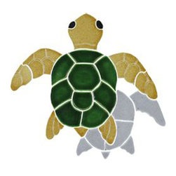 Glass Tile Oasis - Baby Natural Turtle Pool Accents Brown Pool Glossy Ceramic - We offer six lines of in-stock designs ready for immediate delivery including: The Aquatic Line, The Shadow Line, The Hang 10 Line, The Medallion Line, The Garden Line and The Peanuts Line. All of the mosaics are frost proof, maintenance free and guaranteed for life. Our Aquatic Line includes: mosaic dolphins, mosaic turtles, mosaic tropical and sport fish, mosaic crabs and lobsters, mosaic mermaids, and other mosaic sea creatures such as starfish, octopus, sandollars, sailfish, marlin and sharks. For added three dimensional realism, the Shadow Line must be seen to be believed. Our Garden Line features mosaic geckos, mosaic hibiscus, mosaic palm tree, mosaic sun, mosaic parrot and many more. Put Snoopy and the gang in your pool or bathroom with the Peanuts Line. Hang Ten line is a beach and surfing themed line featuring mosaic flip flops, mosaic bikini, mosaic board shorts, mosaic footprints and much more. Select the centerpiece of your new pool from the Medallion Line featuring classic design elements such as Greek key and wave elements in elegant medallion mosaic designs.