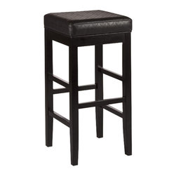 "Hillsdale - Hillsdale Hammond Non-Swivel Backless 25"" or 31"" Stool in Black Finish-Counter H - Hillsdale - Bar Stools - 5157827 - Streamlined and modern the Hammond Stool is a chic sleek accompaniment to any bar or dining setting. Constructed of solid black hardwood the Hammond's cubic shape and tall stature make it a geometric stand out. Its square 360 degree swivel stool is adorned in shiny black vinyl. The Hammond is available in both bar and counter heights. Some assembly required."