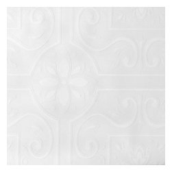 Brewster Home Fashions - Emser Scrolling Floral Tile Paintable Wallpaper Bolt - Similar to vintage tin ceiling tiles this paintable wallpaper creates an authentically textured relief. Designed to work well on ceilings and walls feel free to paint over this wallpaper to create the perfect look.