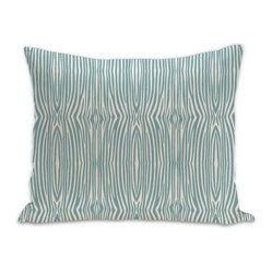 Mini Zebra Organic Cotton Fabric 18 x 15 Pillow in Light Teal/Natural