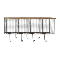 BZBZ50989 - Wood Metal Wire Mesh Wall Pocket with Seven Metal Hooks - Wood Metal Wire Mesh Wall Pocket with Seven Metal Hooks. Wood metal Wire Mesh wall Pocket with Seven metal hooks. Some assembly may be required.