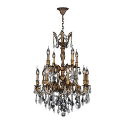 "Worldwide Lighting - Versailles 12 Light Antique Bronze Finish Crystal Chandelier 24"" x 34"" Two Tier - This stunning 12-light Chandelier only uses the best quality material and workmanship ensuring a beautiful heirloom quality piece. Featuring a cast aluminum base in Antique Bronze finish and all over clear crystal embellishments made of finely cut premium grade 30% full lead crystal, this chandelier will give any room sparkle and glamour. Worldwide Lighting Corporation is a privately owned manufacturer of high quality crystal chandeliers, pendants, surface mounts, sconces and custom decorative lighting products for the residential, hospitality and commercial building markets. Our high quality crystals meet all standards of perfection, possessing lead oxide of 30% that is above industry standards and can be seen in prestigious homes, hotels, restaurants, casinos, and churches across the country. Our mission is to enhance your lighting needs with exceptional quality fixtures at a reasonable price."