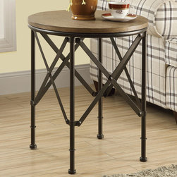 Monarch - Bronze Metal/Brown Veneer Top 20in.Dia Accent Table - Enhance the look of your home with this traditional accent table that offers a thick oak veneer round top and a scissor rustic bronze metal base with extreme style.