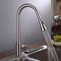 Kitchen Sink Faucets - Nickel Brushed Finish Contemporary Single Handle Kitchen Faucet-- FaucetSuperDeal.com