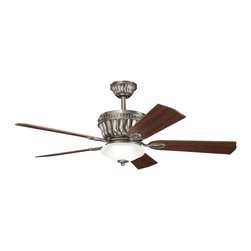 "Kichler - 52"" Dorset II 52"" Ceiling Fan Antique Pewter - Kichler 52"" Dorset II Model KL-300152AP in Antique Pewter with Reversible Cherry/Dark Cherry Finished Blades."
