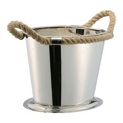 Kathy Kuo Home - Nautical Rope Polished Silver Modern Wine Cooler - Here's an intoxicating recipe for your next cocktail party: Fill this nautical-accented polished silver wine cooler with your favorite wines, and serve. Yacht optional.