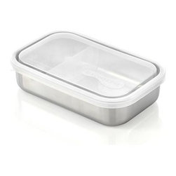 U Konserve® Rectangular Stainless-Steel  Divided Container with Clear Lid - Leak-proof, utilitarian container is a prep-worthy and portable option for food storage of all kinds. Non-toxic construction with airtight plastic lid and stainless-steel base that won't retain odors and flavors.