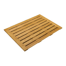 None - Seville Classics Bamboo Bathroom Floor Mat (28 in x 22 in) - The Eco Friendly Seville Classics Rectangular Bamboo Bathroom Floor Mat is a stylish solid bamboo mat that features linear open slats, raised profile for efficient air circulation and skid resistant silicone feet.