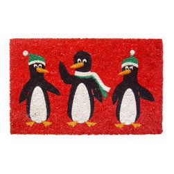 Entryways - Penguins Non Slip Coconut Fiber Doormat - This beautifully designed doormat will enhance your entry way or patio. It's made from the highest quality all natural coconut fiber with a PVC non slip backing.
