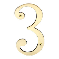"Renovators Supply - House Numbers Bright Brass House Numbers:#3 8"" H - House numbers: Crafted of solid brass, these die cast numbers measure 8 in. high. Beautiful polished solid brass will withstand the test of time. Includes 2 screws for mounting and 2 wall anchors."