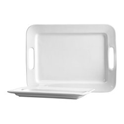 Tabletops Unlimited - Blanc de Blanc Serving Platters, Set of 2 - Dishwasher Safe.  Microwave Safe.  Chip Resistant. Material: Stoneware . 16.75 in. x 12.5 in. Platter. 14.125 in. x 7.75 in. PlatterThe high-fired stoneware service set presents any dish beautifully, from hot appetizers to grilled vegetables to main courses, desserts and more. Built-in handles make carrying these large serving trays easy.