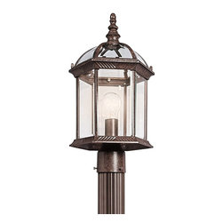 BUILDER - BUILDER New Street Transitional Outdoor Post Lantern X-ZT78194 - This Kichler Lighting outdoor post lantern light features a warm Tannery Bronze finish that compliments the traditional shape and subtle modern influencing. From the New Street Collection, clear beveled glass panels complete the look.