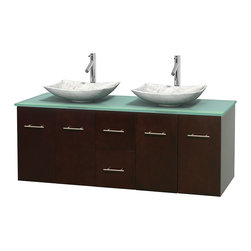 """Wyndham Collection - Centra 60"""" Espresso Double Vanity, Green Glass Top, White Carrera Marble Sinks - Simplicity and elegance combine in the perfect lines of the Centra vanity by the Wyndham Collection. If cutting-edge contemporary design is your style then the Centra vanity is for you - modern, chic and built to last a lifetime. Available with green glass, pure white man-made stone, ivory marble or white carrera marble counters, with stunning vessel or undermount sink(s) and matching mirror(s). Featuring soft close door hinges, drawer glides, and meticulously finished with brushed chrome hardware. The attention to detail on this beautiful vanity is second to none."""
