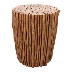 Asian Art Imports - Natural Stick Stool, Natural - This stool is made with reclaimed wood and is a nice addition to any setting.
