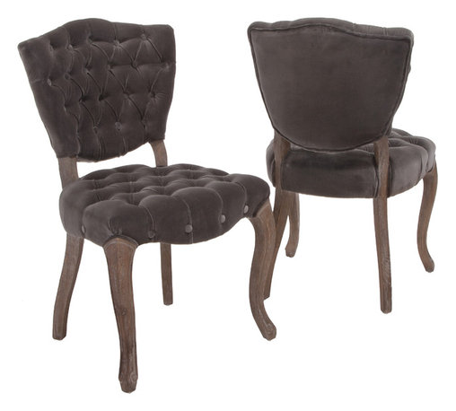 Great Deal Furniture - Violetta French Design Velvet Dining Chair (set of 2) - For a French inspired design, look no further than the Violetta tufted velvet fabric dining chairs. This set of two chairs offers ample tufting, a solid weathered oak frame, and intricately carved wooden legs.