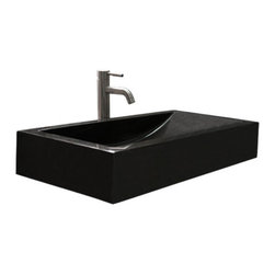 Rectangular Polished Black Granite Vessel Sink with Sloped Basin - This granite vessel sink features a crisp, rectangular shape and sloping interior basin. Pair with a wall-mount faucet or vessel filler to complete the look.