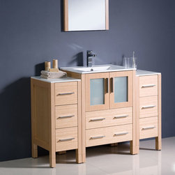 Fresca - Fresca Light Oak Modern Bathroom Vanity w/ 2 Side Cabinets & Sink - Featuring a light oak finish and frosted glass panels, the Torino 48 vanity from Fresca is perfect for creating a chic, spa-style look and feel to any bathroom. Constructed to a high quality, this vanity with two side cabinets provides a practical storage solution for your bathroom essentials. The vanity comes complete with the integrated ceramic sink, which provides a sleek finish. Torino Bathroom Vanity Details:   Dimensions: Vanity 48W x 18 1/8D x 33 3/4H Side Cabinet dimensions: W 12 x D 17.75 x H 31.63  Plywood with veneer, integrated ceramic sink Single hole faucet mount Finish: Light Oak Includes two side cabinets Please note: faucet not included