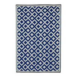 Fab Habitat - Fab Habitat - Indoor/ Outdoor - Marina - Indigo & Bright White, 6' X 9 - These beautifully crafted rugs are made following the fair trade principles. Fab Rugs add a touch of elegance to your home décor. They are made using premium quality recycled plastic straws which are tightly woven together to offer strength, softness and beauty. Being plastic, moisture will have no effect on the mat and it will not attract mildew.