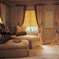 Custom Draperies - Custom Draperies over Hunter Douglas Vignette Modern Roman Shades in the bedroom.