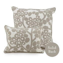 """Oilo - 18"""" x 18"""" Modern Berries Pillow, Taupe - Sophisticated berries are the perfect accent for your bed or couch. These ecofriendly pillows are filled with dacron and 100 percent woven cotton. They make a cozy statement in a modern home."""