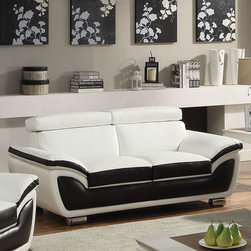 "Acme Furniture - Olina Loveseat in White & Coffee Bonded Leather - Olina Loveseat in White & Coffee BLM; Finish: White & Coffee BLM; Materials: Wood, Bonded, PU, PVC, Metal Leg; Chromed Leg, Adjustable Headrest with 2 Positions; Weight: 107.7 lbs; Dimensions: 70""L x 38""D x 30""H"