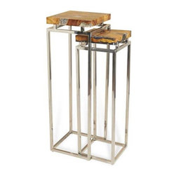 Interlude Home - Interlude Home Adisa Pedestals - This Interlude Home Pedestals is crafted from Teak And Cracked Resin and Stainless Steel and comes in a Polished Finish.  Overall sizes are: 14 in. W  x  14 in. D x 42 in. H.  12 in. W  x  12 in. D x  38 in. H.