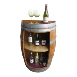 "Master Garden Products - Split Barrel Shelf, handcrafted with reclaimed wine barrel, 36""H x 26""W x 13""D - Our split barrel shelf is handcrafted from reclaimed used wine barrels from California, double shelf height 14"" head room, more display on the top of the split barrel. Original barrel strap is included for optional look shown in picture two. Lacquer finished."