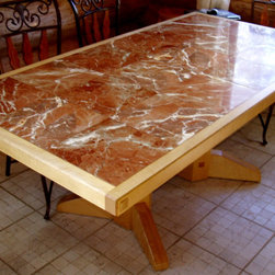 Custom made curly maple and marble dining table -