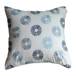 KH Window Fashions, Inc. - Modern Embroidered Dots Pillow in Blues, With Insert - This modern embroidered circle pillow will complement any decor.
