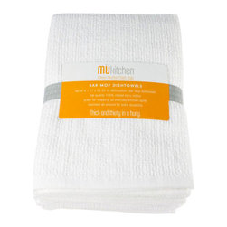 """MU Kitchen Bar Mop Set of 3 - These superior quality bar mop kitchen towels by MU Kitchen are great for mopping up everyday kitchen spills.  Made from top quality 100% ribbed terry cotton  and hemmed all around for extra durability  these bar mop towels are made with the same quality of those used in restaurant environments every day!  Set includes 3 16"""" x 18.75"""" towels.Product Features                          Set of 3 - 16 x 18.75 in.            Imported from India            A must have basic for cleaning and drying            Hemmed all around for extra durability            Great for mopping up everyday kitchen spills            Top quality 100% cotton"""